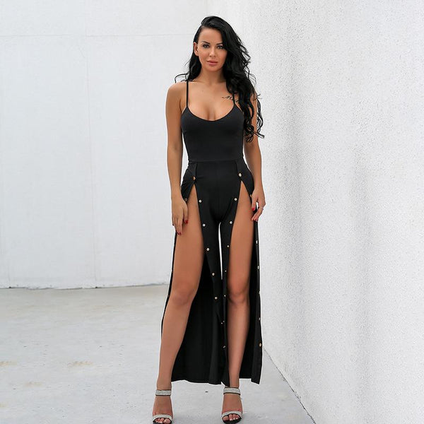 """On call"" High double split snap jumpsuit (1462515892267)"