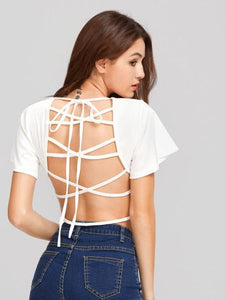 Ladies strappy back fashion crop top - Iconic Trendz Boutique (1462572744747)