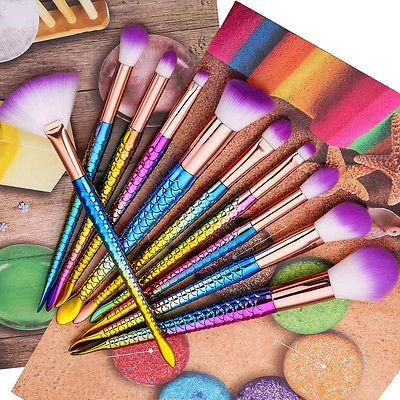 10pcs rainbow mermaid makeup brushes - Iconic Trendz Boutique (1462572220459)