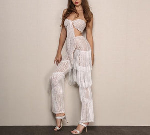 Tropic affair fringe 2 piece crop top pants set - Iconic Trendz Boutique