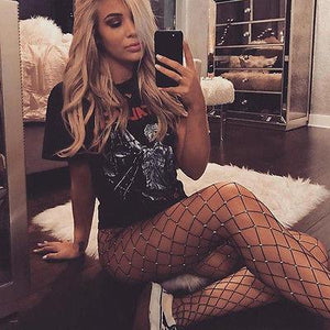 """ Badness"" Rhinestone fishnet stocking - Iconic Trendz Boutique (1462569500715)"