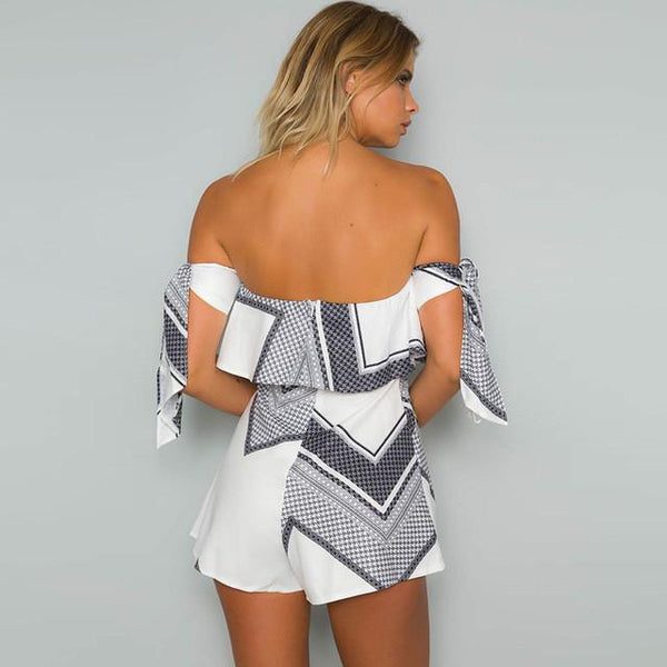 Ladies tie sleeve geo short romper - Iconic Trendz Boutique (1462568714283)