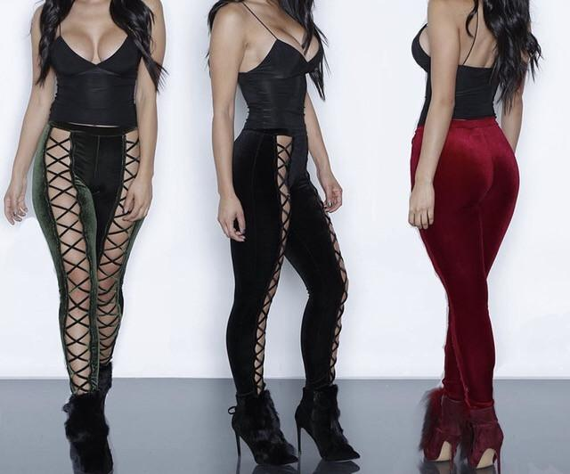 sexy lace up cutout fashion leggings (1462567174187)