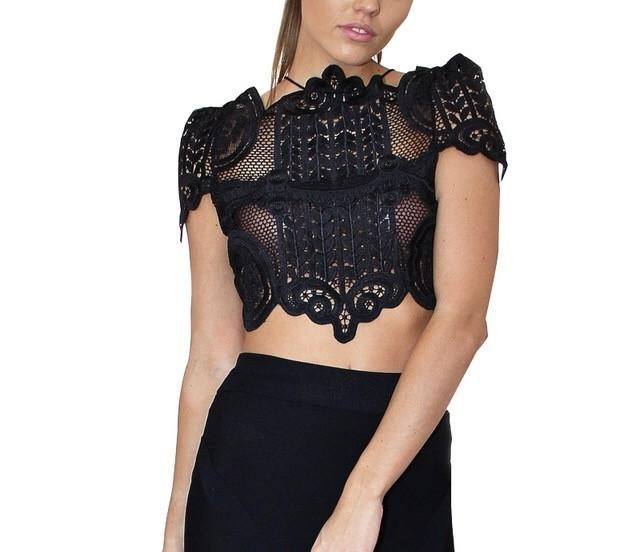 """Believe me"" lace crop top - Iconic Trendz Boutique (1462567501867)"