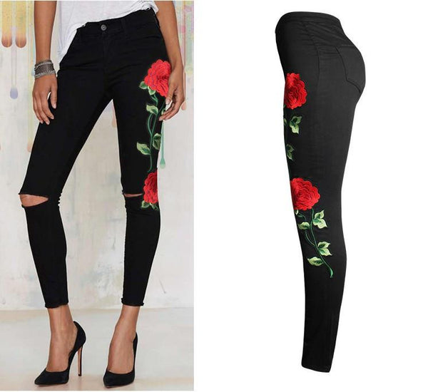 Stylish high waisted roses detail distressed jeans - Iconic Trendz Boutique (1462568124459)