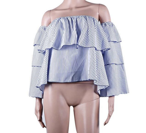 """Cali"" ruffle off the shoulder blouse - Iconic Trendz Boutique (1462565961771)"