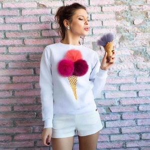 Ladies 3D fuzzy ice cream pullover sweater top - Iconic Trendz Boutique