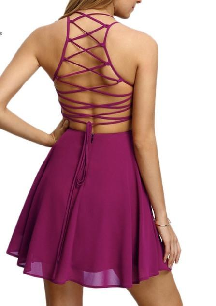 """Missy"" strappy lace up back skater mini dress - Iconic Trendz Boutique (1462566846507)"