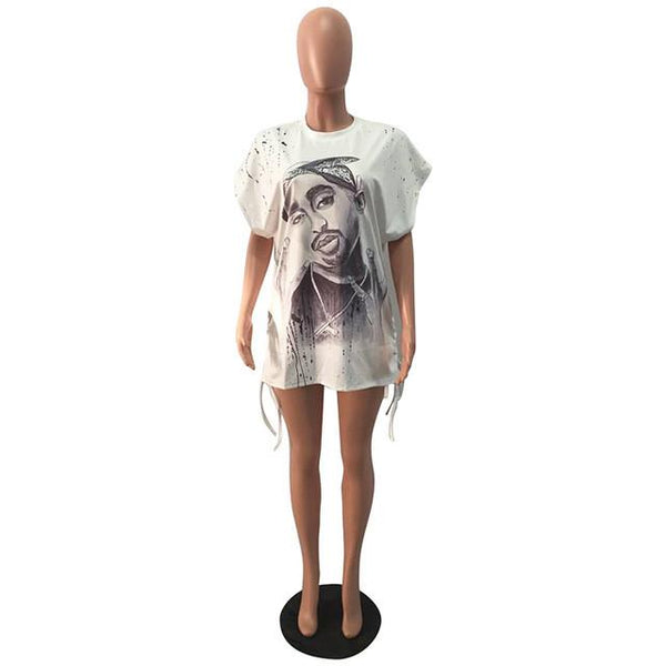 Tupac portrait retro distressed fashion tshirt top - Iconic Trendz Boutique (1462566191147)