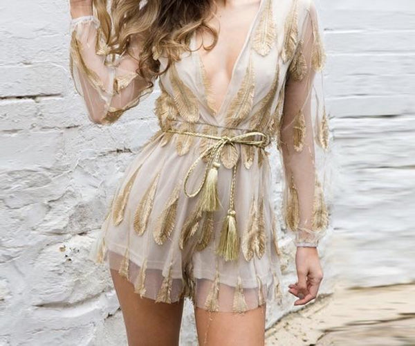 """Beautiful boho"" festive short romper jumpsuit - Iconic Trendz Boutique (1462564749355)"