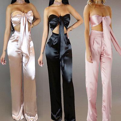Satin 2 piece bow crop top pants set - Iconic Trendz Boutique (1462553411627)