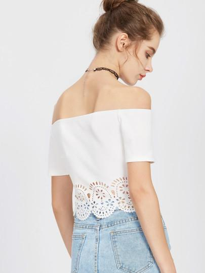 lace trim off the shoulder crop top - Iconic Trendz Boutique (1462561800235)
