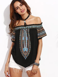 Tribal detail off the shoulder top - Iconic Trendz Boutique (1462561636395)