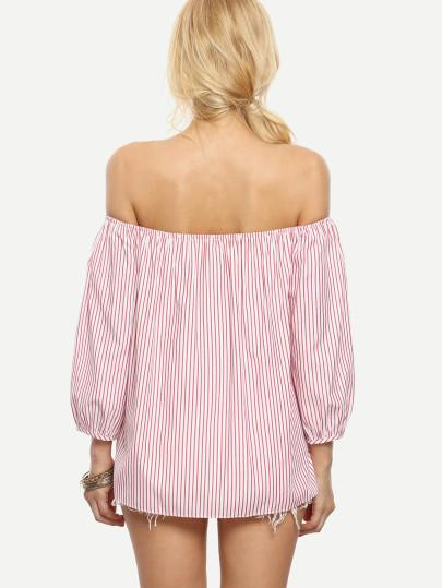 Ladies pink stripe bow detail blouse - Iconic Trendz Boutique (1462561603627)