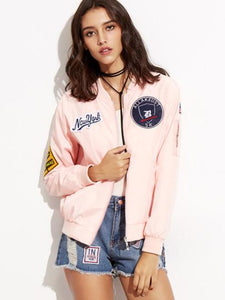 Pink New York Patch Bomber Jacket - Iconic Trendz Boutique (1462561079339)
