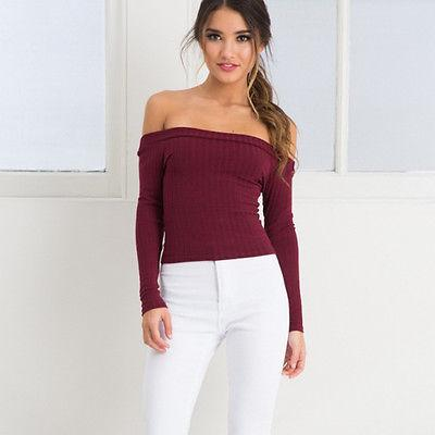 """Darling"" Off the shoulder long sleeve top - Iconic Trendz Boutique (1462557999147)"