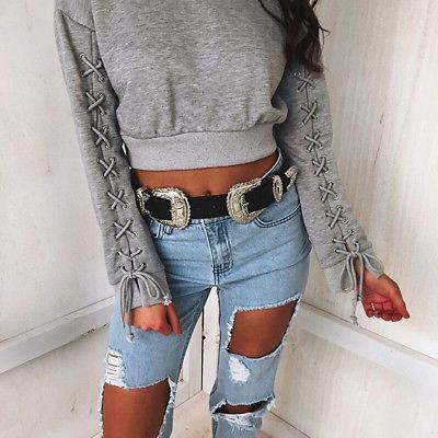 Classic lace up sleeve cropped sweater top - Iconic Trendz Boutique (1462558785579)