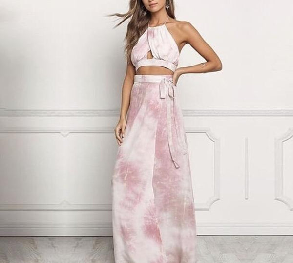 """Bahamas"" Sexy Tie dye 2 piece crop top maxi skirt set - Iconic Trendz Boutique (1462555967531)"