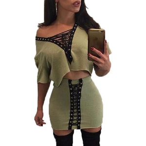 Chic 2 piece lace up style 2 piece crop top skirt set - Iconic Trendz Boutique (1462556524587)