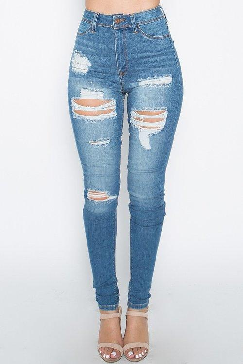 High waisted distressed cutout denim jeans - Iconic Trendz Boutique (1462551937067)
