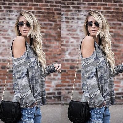 Casual Camo loose fit cold shoulder loose blouse - Iconic Trendz Boutique (1462550528043)