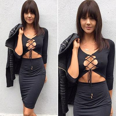 The Cage lace up little black dress - Iconic Trendz Boutique (1462549872683)