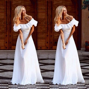 """Beautiful desire"" white off the shoulder maxi cocktail dress - Iconic Trendz Boutique (1462550036523)"