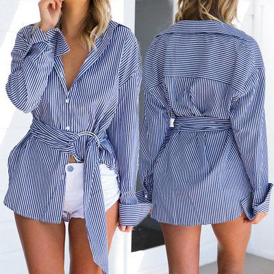 Classic stripe lapel tie front loop shirt - Iconic Trendz Boutique (1462539288619)