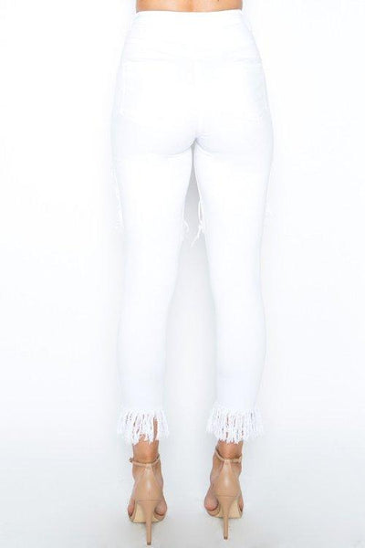 Ladies white high waist cutout distressed fringe skinny jeans - Iconic Trendz Boutique (1462549610539)