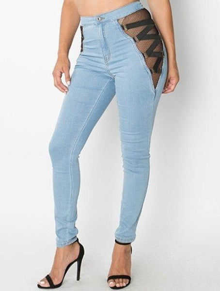 Mesh zig zag side detail high waist skinny jeans - Iconic Trendz Boutique (1462549282859)