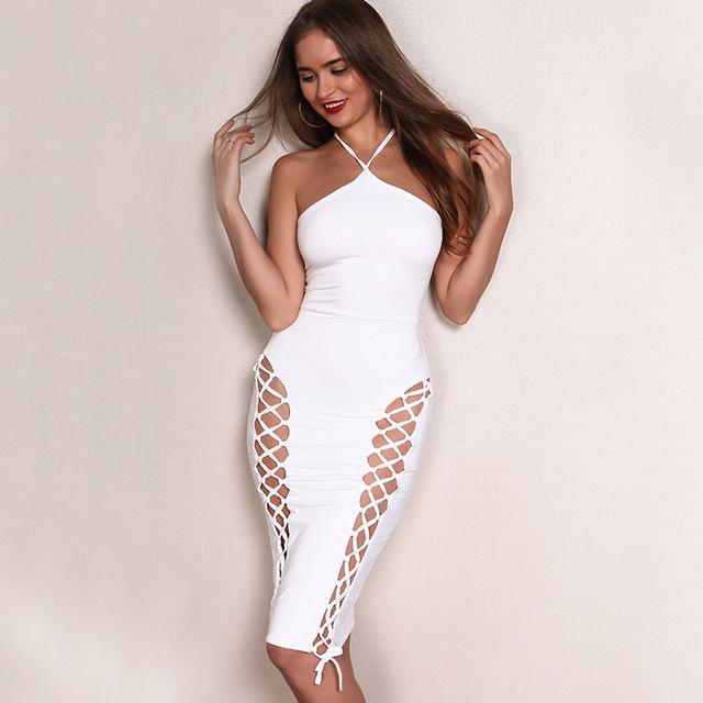 Sexy all white side lace bodycon dress - Iconic Trendz Boutique (1462547087403)