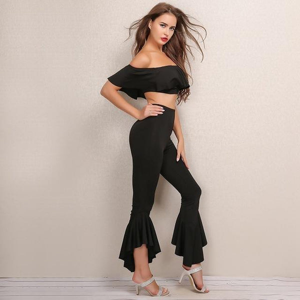 """Bailar"" ruffle off the shoulder crop top pants 2 piece set - Iconic Trendz Boutique (1462548004907)"