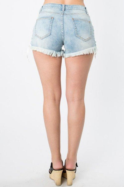 Lace up side denim light wash shorts - Iconic Trendz Boutique (1462546825259)