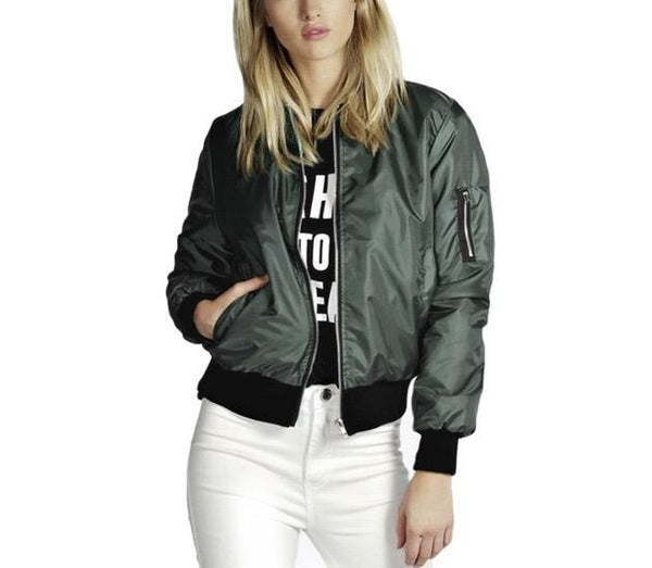 """Bombshell"" bomber Jacket - Iconic Trendz Boutique (1462545580075)"