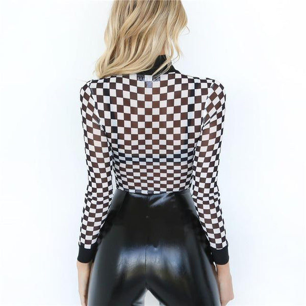 Checkered mock neck bodysuit - Iconic Trendz Boutique (1462545776683)