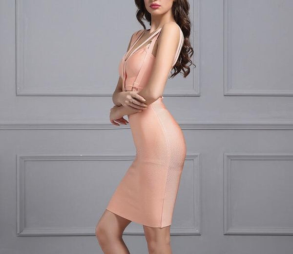 """Nonstop"" cage strap bandage fashion dress - Iconic Trendz Boutique (1462545023019)"