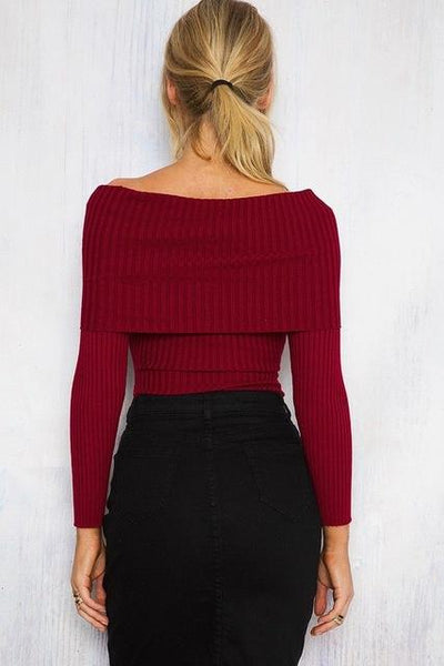 Sophia off the shoulder knotted sweater top - Iconic Trendz Boutique (1462544728107)