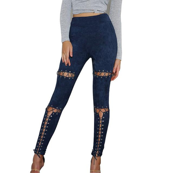 """Put in Work"" lace up cutout leggings pants - Iconic Trendz Boutique (1462544400427)"