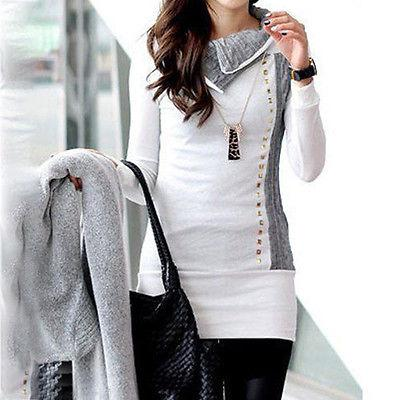 Trendy warm fold neck long sweater top - Iconic Trendz Boutique (1462543876139)
