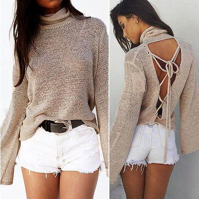 Lace up back turtle neck sweater top - Iconic Trendz Boutique (1462543024171)
