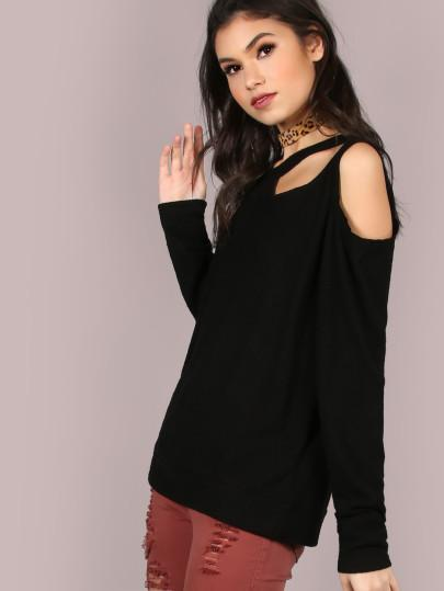 Ladies Cutout detail fashion sweater top - Iconic Trendz Boutique (1462540337195)
