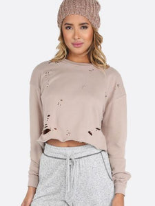 Ladies Distressed cutout sweatshirts (1462541549611)