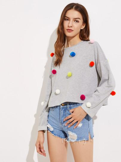 Pom Pom Detail Fashion Sweater Top - Iconic Trendz Boutique (1462541353003)