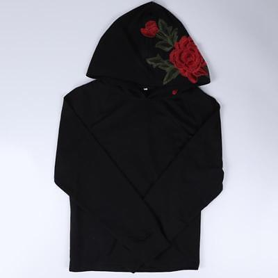 Ladies Rose flower detail hoodie sweater (1462542204971)