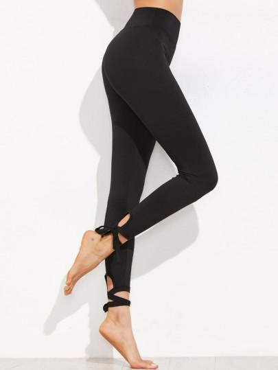 Black lace up ankle fashion leggings (1462541877291)