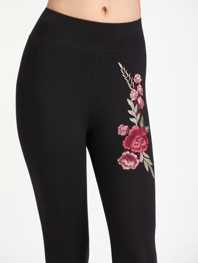 Rose embroidery detail fashion leggings - Iconic Trendz Boutique (1462541156395)