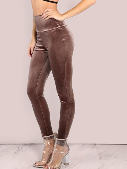 Velvet mocha bodycon leggings - Iconic Trendz Boutique (1462540238891)