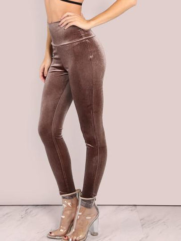Velvet mocha bodycon leggings - Iconic Trendz Boutique