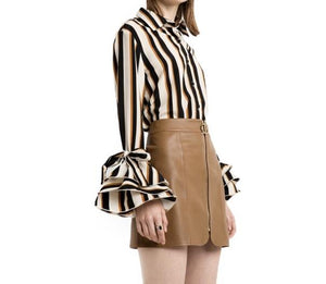 """Old school"" ruffle bell sleeve stripe shirt - Iconic Trendz Boutique (1462539026475)"