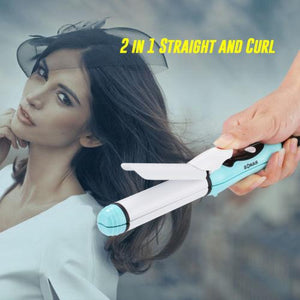 2 in 1 mini hair straightener and curling iron - Iconic Trendz Boutique (1462538371115)
